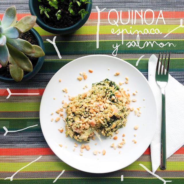 Quinoa con espinaca y salmón